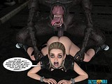 Two ugly alien monsters teat a hot human whore apart!