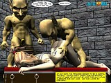 Naughty chick gets hard banged by three dirty goblins!