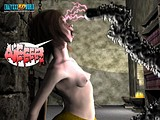 Stunning tentacle fucking session of a little cute whore with a monster!