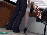 Blonde 3D babe is getting brutally assfucked in the office