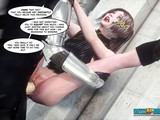 3D sex scene with a stunning short-haired girl in a gorgeous costume