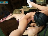 3D porn action featuring two elegant lesbians with huge bums
