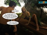 Hardcore 3D deepthroat blowjob by a long-legged blonde in a forest