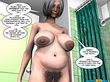 Horny grey-haired mom starves for her hairy pussy well fucked with big penis in the shower!