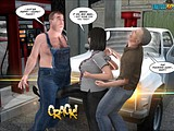 Fatty mature whore gets fucking attacked by two hot studs at a filling station!