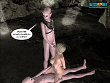 Amazing threesome action with a petite human whore fucked with two alien big penises!