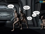 Pregnant hot bitch in the open space challenged by aliens!
