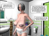 Horny grey-haired mature whore examines her big tits in mirror and teases her pussy through big pants!