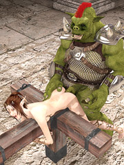 Petite female elf trapped and roughed up by a horny monster