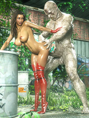 Muscled 3D demon impales a curvy babe in the bend over fucking pose