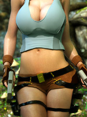 Sexually excited 3D Lara Croft have copulation with keen swarthy brute